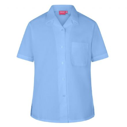 Blue Short Sleeve Revere Collar Blouse - Twin Pack